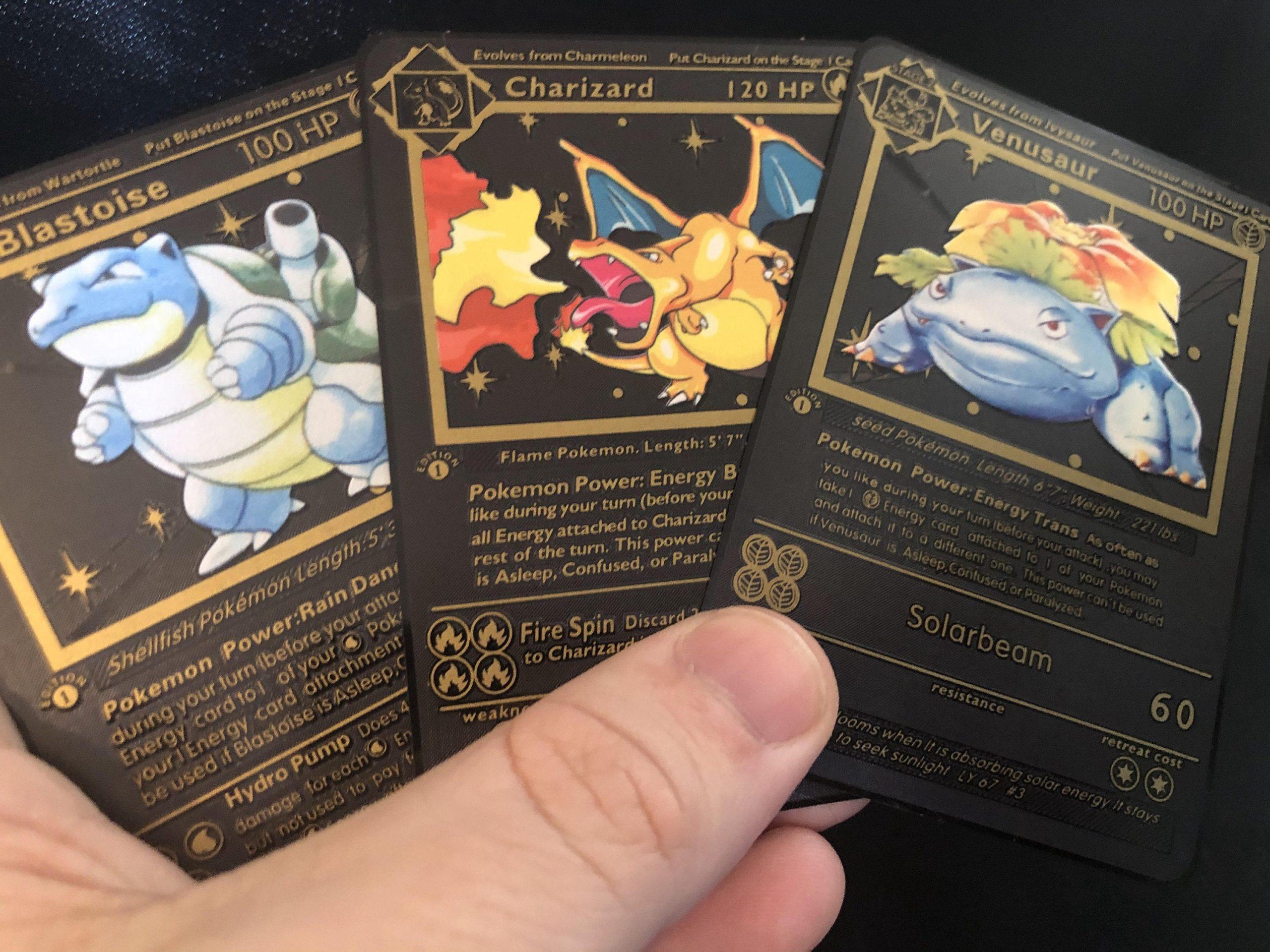 Pokemon Charizard Venusaur Blastoise Shadowless 1st Ed Gold Metal Custom Card